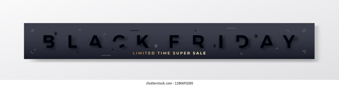 Black Friday Stylish Premium Banner or Header. Modern Reduced Typography Concept. Black on Black with Abstract Decorative Elements, Realistic Shadow and Golden Glitter. Web ready proportions. Isolated