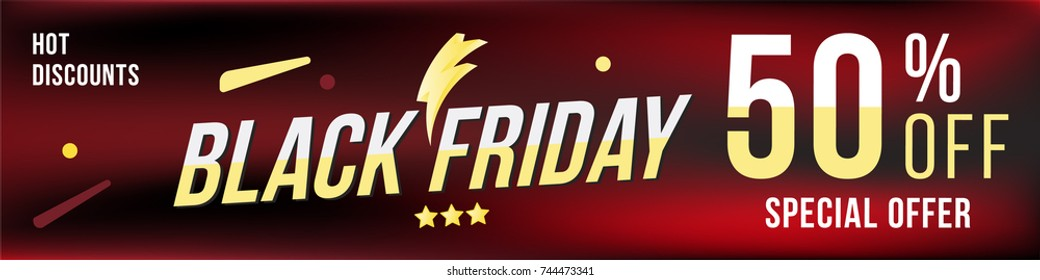 Black Friday and super sale 50% off discount. Banner in horizontal format in dark background. Big discount, template for print advertising and web banner. Flat vector illustration EPS 10.