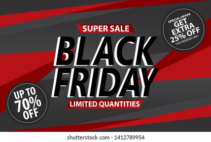 Black Friday. Super sale banner. layout design. Vector illustration.