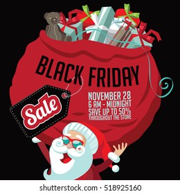 Black Friday super sale marketing template. Cartoon Santa Claus holding a huge bag of Christmas gifts with copy space. EPS 10 vector.