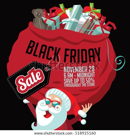 ab299a1707353 Black Friday super sale marketing template. Cartoon Santa Claus holding a  huge bag of Christmas