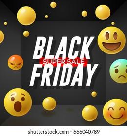 Black Friday super Sale poster with emoticons smiling faces, black background, vector illustration.