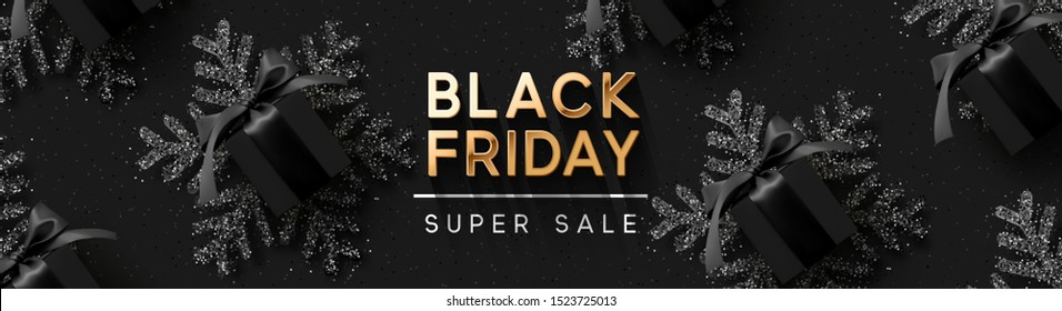 Black Friday Super Sale. Realistic black gifts boxes. Pattern with gift box. Dark background golden text lettering. Horizontal banner, poster, header website. vector illustration