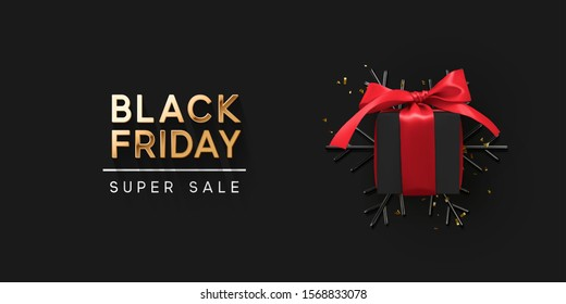 Black Friday Super Sale. Realistic black gifts boxes. 3d snowflake with glitter gold confetti, gift box with red bow. Dark background golden text lettering. Holiday banner, poster. vector illustration