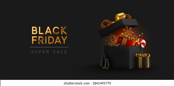 Black Friday Super Sale. Realistic black gifts boxes. Open gift box full of decorative festive object. Golden text lettering. New Year and Christmas design. Xmas background. vector illustration
