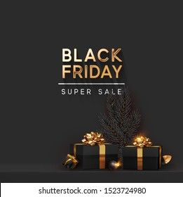 Black Friday Super Sale. Shelf and podium with realistic black gifts boxes with gold bows. Dark background golden text lettering. vector illustration