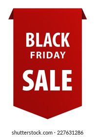 Black Friday tag ribbon banner icon isolated on white background. Vector illustration