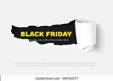 Black Friday Template for presentation or web banner with torn white paper and black copyspace