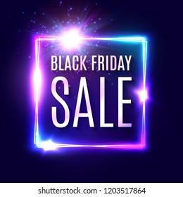 Black friday text on dark blue neon background. Discount shopping web banner. Modern neon signage. Advertising seasonal offer concept. Black friday sale design. Bright vector illustration.
