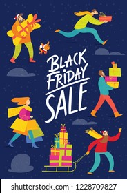 Black Friday Vector Christmas sale poster night design for holiday season with abstract people doing shopping
