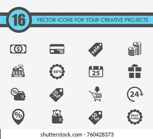 black friday vector icons for your creative projects