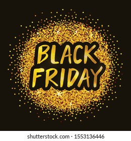 Black Friday vector illustration for card, poster, banner, ad, label, logo, tag. Lettering template or background. Black Friday typography poster. EPS 10