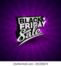 Black Friday vector label template for advertising sale print on purple glossy background