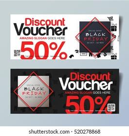 Black Friday voucher card vector template