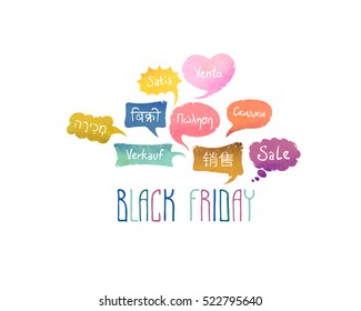 "Black friday. Word ""Sale"" on different languages (English, Spanish, German, Chinese, Hebrew, Hindi, Greek, Russian)"