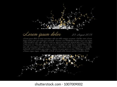Black funeral card template with white and golden flowers and place for your content