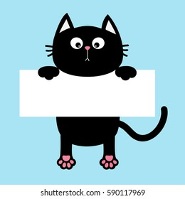 Black funny cat hanging on paper board template. Kitten body with paw print, tail. Cute cartoon character. Kawaii animal. Baby card. Pet collection. Flat design style. Blue background Isolated Vector