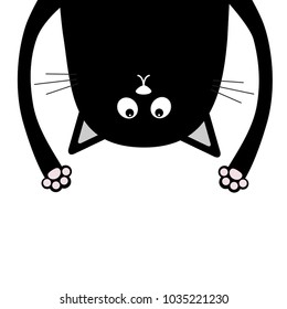Black funny cat Head silhouette hanging upside down. Crazy eyes, teeth, tongue, hands. Cute cartoon character Baby collection. Happy Halloween. Flat design White background. Vector illustration