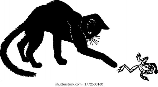 A black furry cat with distinct whiskers and long curved tail, playing with a frog, vintage line drawing or engraving illustration.