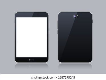Black Gadget with Blank Touch Screen . Isolated Elements on Grey Background