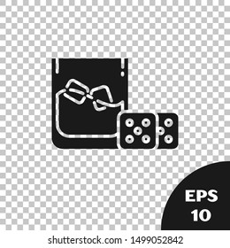 Black Game dice and glass of whiskey with ice cubes icon isolated on transparent background. Casino gambling.  Vector Illustration