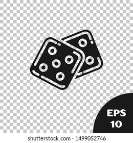 Black Game dice icon isolated on transparent background. Casino gambling.  Vector Illustration