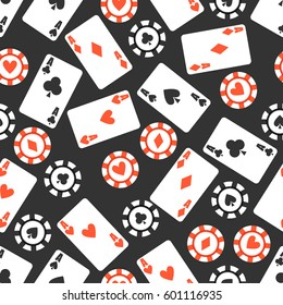Black game seamless background. Casino cards pattern.