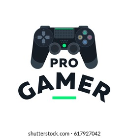 Black gamepad controller joystick. Pro gamer vector flat illustration icon. Video game. Console for video game sticker print.
