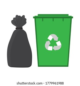 black garbage bag and green dumpster with recycle logo. Ecology concept. Vector stock flat illustration