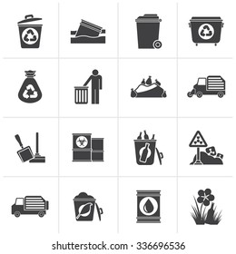 Black Garbage and rubbish icons - vector icon set