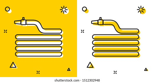 Black Garden hose or fire hose icon isolated on yellow and white background. Spray gun icon. Watering equipment. Random dynamic shapes. Vector Illustration