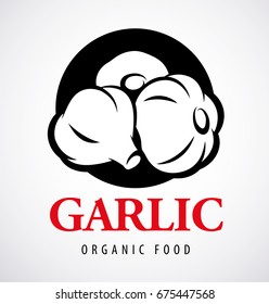 Black garlic vector illustration. Logo design template. Icon.