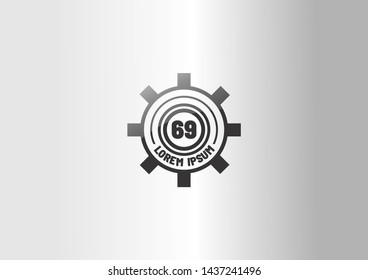 black gear logo with number 69