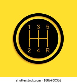 Black Gear shifter icon isolated on yellow background. Transmission icon. Long shadow style. Vector.