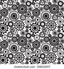 Black gears, steampunk seamless pattern