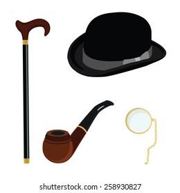 Black gentleman bowler hat, golden monocle,brown smoking pipe and walking stick  vector set