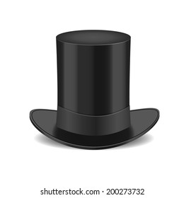 Black gentleman hat Isolated on White Background
