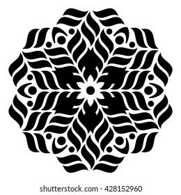 Black geometric abstract round mandala vector illustration