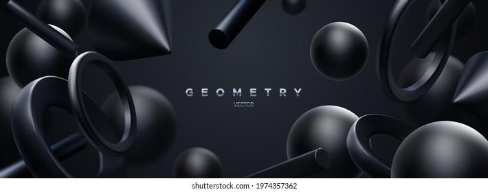 Black geometric shapes backdrop. Abstract elegant background. Vector 3d illustration. Flowing geometry primitives composition. Banner or sign design