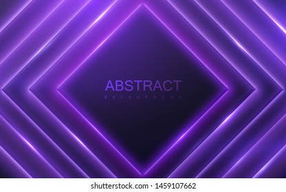 Black geometric square shapes with neon glowing light. Abstract 3d background. Vector illustration of purple electric lights. Modern cover design. Creative banner layout