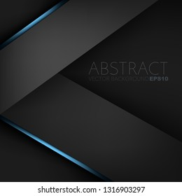 Black geometric vector background with blue line triangle overlap layer on dark space for background design