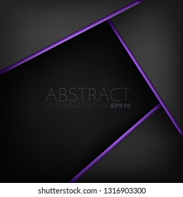 Black geometric vector background with purple line triangle overlap layer on dark space for background design