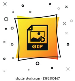Black GIF file document icon. Download gif button icon isolated on white background. GIF file symbol. Yellow square button. Vector Illustration
