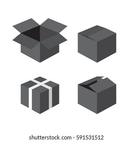Black gift boxes icons collection with white ribbon, Christmas / New Year / Valentine's Day. Close, open, half open. Delivery, shipping, warehouse. Vector isometric flat design isolated on white backg