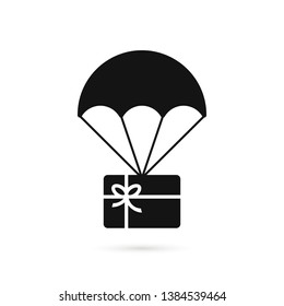 black gift card on parachute. flat simple trend modern logotype graphic design isolated on white background. concept of xmas promo saving, happy valentine day bargain sale and special or best offer
