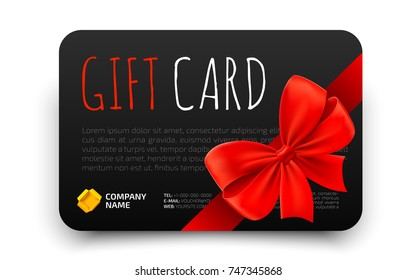Black Gift card template with realistic red bow. Certificate, coupon, flyer design. Discount card for shop or boutique. Vector illustration