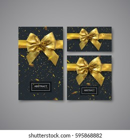 Black gift stationery design template. Set of design elements for festive package design. Vector illustration. Card, banner, cover, brochure with geometric pattern, golden bow and confetti glitters