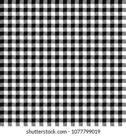 Black Gingham Seamless Pattern - Traditional black and white gingham seamless pattern