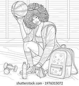 Black girl basketball player.Coloring book antistress for children and adults. Illustration isolated on white background.Zen-tangle style. Hand draw
