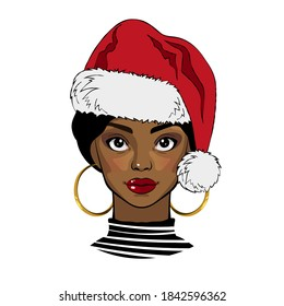 Black girl with Christmas Santa hat. Vector illustration
